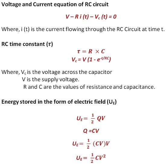 equation of RC circuit