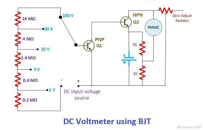 DC voltmeter using BJT