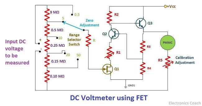 DC voltmeter using FET