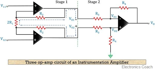 circuit diagram of instrumentation amplifier