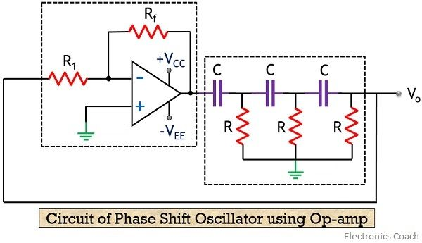 RC phase shift oscillator circuit