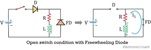 open switch condition with freewheeling diode
