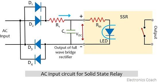 ac input circuit for solid state relay