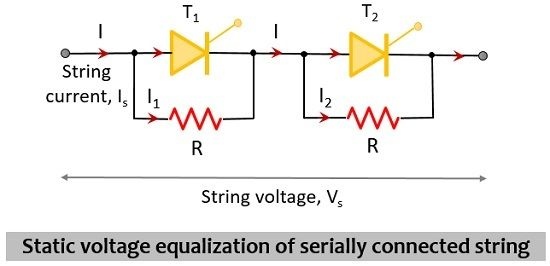 static voltage equalization of serially connected SCRs