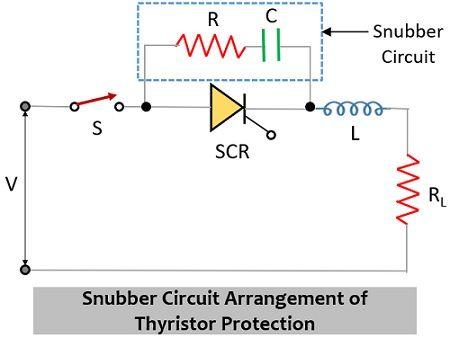 snubber circuit arrangement for thyristor protection